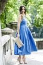 Blue-shein-dress-light-pink-jessica-buurman-sandals