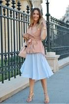 light blue Front Row Shop skirt - light pink shein vest