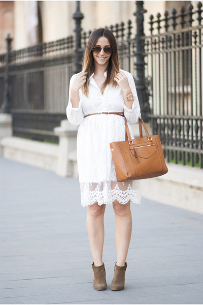 white romwe dress - burnt orange Shopbop bag - camel Ray Ban sunglasses