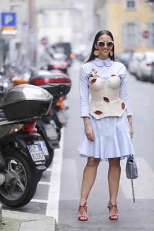 sky blue Maria Lucia Hohan dress - sky blue Valentino bag