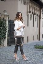 charcoal gray Shopbop jeans - silver Shopbop bag - silver Jessica Buurman heels