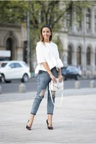 white Shopbop bag - sky blue Shopbop jeans - white romwe blouse