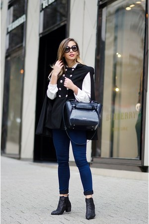 black Choies boots - black Prada sunglasses - navy Choies cape