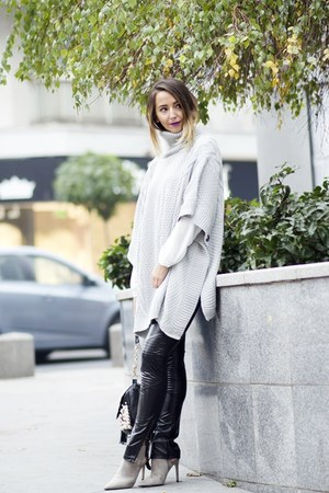 silver shein cape - black shein pants