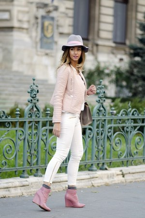 silver Shopbop hat - bubble gum Inia Lavin boots - light pink shein jacket
