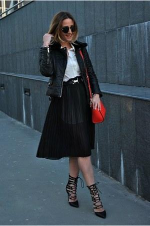 black Front Row Shop dress - black Sheinside jacket - red Michael Kors bag
