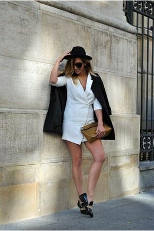 black Choies shoes - white Sheinside dress - light orange Moschino bag