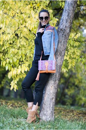 mustard Andra Oprea bag - bronze Jessica Buurman boots - black Prada sunglasses