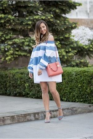 white Choies dress - sky blue AmiClubWear sandals