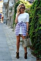 brown Zara boots - white Choies dress