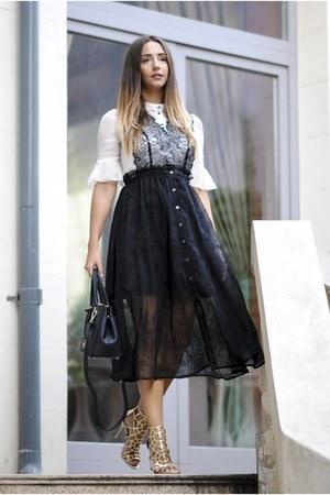 black VIPme dress - black DKNY bag - gold Sergio Rossi sandals