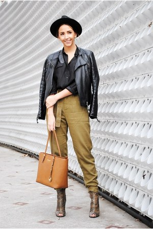 black Shopbop hat - tawny Michael Kors bag - dark khaki pull&bear pants