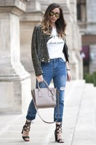 dark green shein jacket - navy shein jeans - camel Michael Kors bag