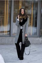 gray Voglia coat - black DKNY bag - black Voglia pants