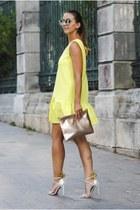 yellow shein dress - light yellow Shopbop bag - white Aquazzura sandals