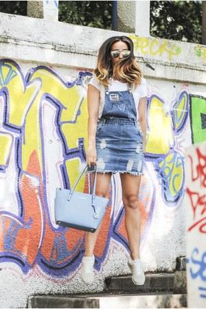 sky blue Michael Kors bag - white Marc Jacobs sneakers - sky blue romwe jumper