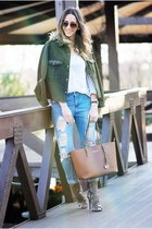 brown Ray Ban sunglasses - light brown Inia Lavin boots - sky blue Shopbop jeans