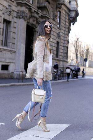 sky blue Blank Denim jeans - cream nissa blazer - white DSquared sunglasses
