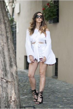 red shein pants - white shein blouse