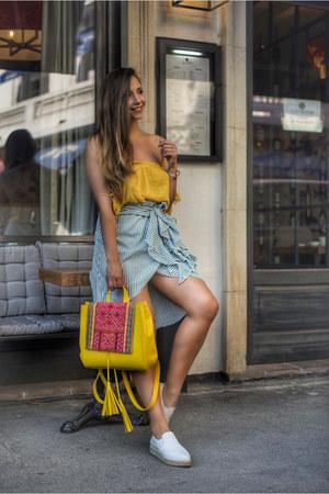 yellow zaful top - white DKNY shoes - green zaful skirt