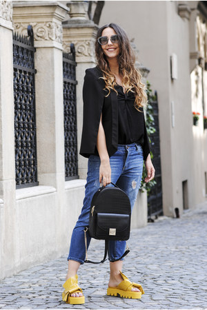 black nissa bag - dark gray Miu Miu sunglasses - yellow Jessica Buurman sandals
