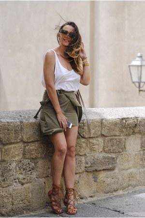 camel Michael Kors bag - army green romwe skirt - tawny Choies sandals