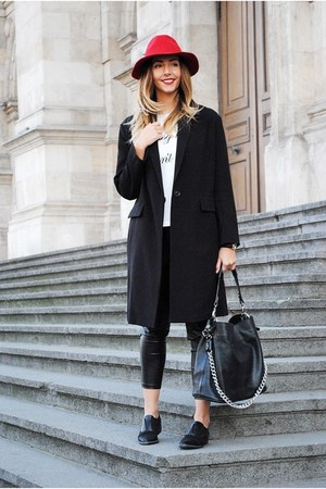 black asos coat - white Yoins t-shirt - black Shopbop pants