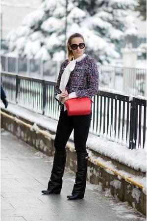 black Jessica Buurman boots - red Michael Kors bag - black Prada sunglasses