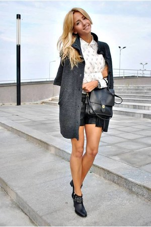 black Zara boots - white Sheinside blouse