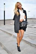 black Zara boots - white Sheinside blouse