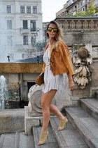 camel Jessica Buurman sandals - white OASAP dress - bronze jacket