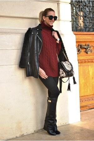 black Jessica Buurman boots - black Choies coat - brick red rosewe sweater