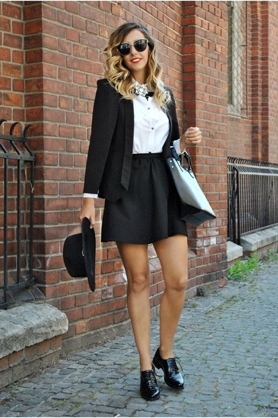 black Deichmann shoes - black shein blazer - black Zara bag