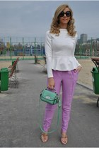 aquamarine OASAP bag - bubble gum H&M pants - ivory AXPAris blouse