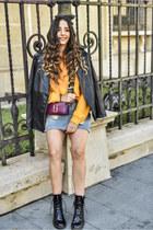 magenta Marc Jacobs bag - black zaful boots - gold NA-KD sweatshirt