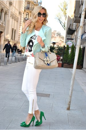 white Zara jeans - green Mart of China heels