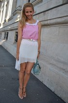 white Sheinside skirt - light blue Sheinside bag - light pink Zara sandals