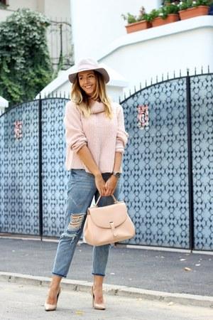 peach sam edelman shoes - peach Alcott sweater - peach YVY Bags bag