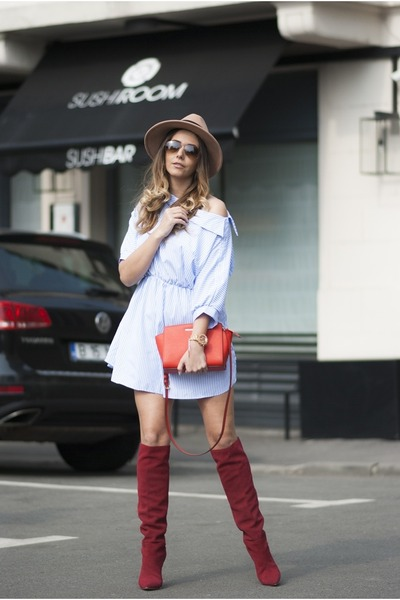red Jessica Buurman boots - light blue Choies dress - camel Choies hat