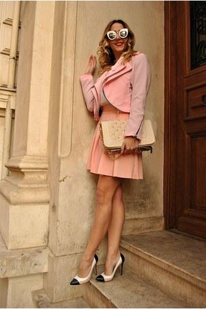 bubble gum romwe jacket - bubble gum rosewe skirt