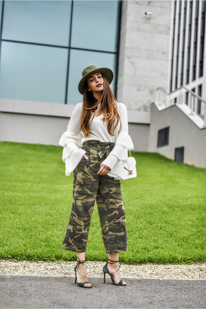 white NA-KD sweater - dark khaki Eugenia Kim hat - white Furla bag