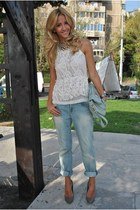 white Zara blouse - light blue Zara jeans - olive green Zara heels