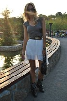 ivory Sheinside skirt - black Zara boots