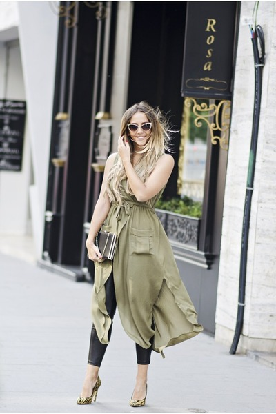olive green shein vest