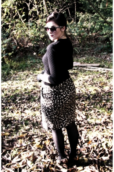 black Target coat - black Goodwill cardigan - black Goodwill belt - light brown