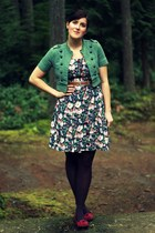 navy floral thrifted dress - teal gift jacket - deep purple Target tights