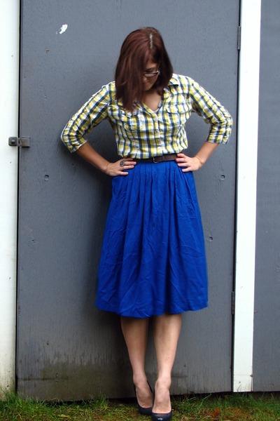yellow thrifted shirt - blue thrifted skirt