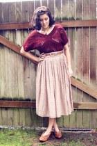 tan polkadot Forever 21 skirt - maroon crochet thrifted sweater