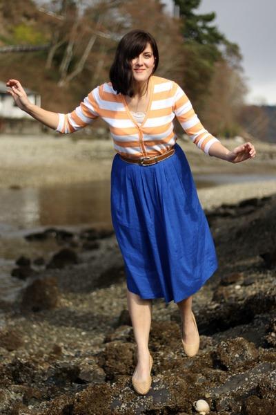 blue thrifted skirt - light orange thrifted cardigan