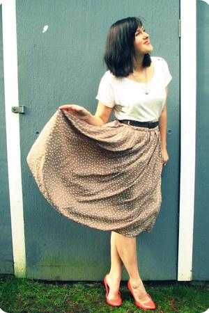 white Target shirt - camel polkadot Forever 21 skirt
